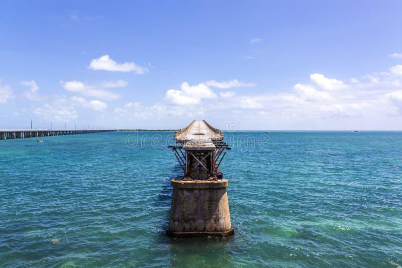 Stary Bahia Honda poręcza most, Bahia zatoki stanu park, Floryda klucze zdjęcia stock