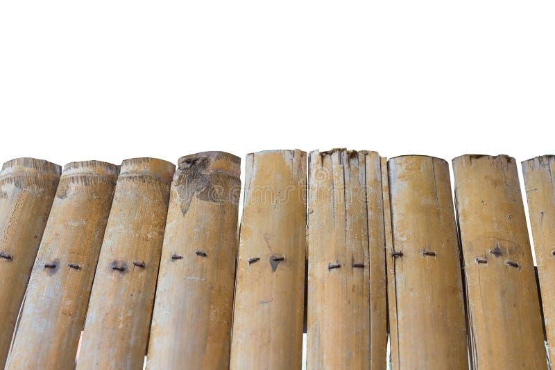 Stary bambus ściany tło na białym tle zdjęcie stock