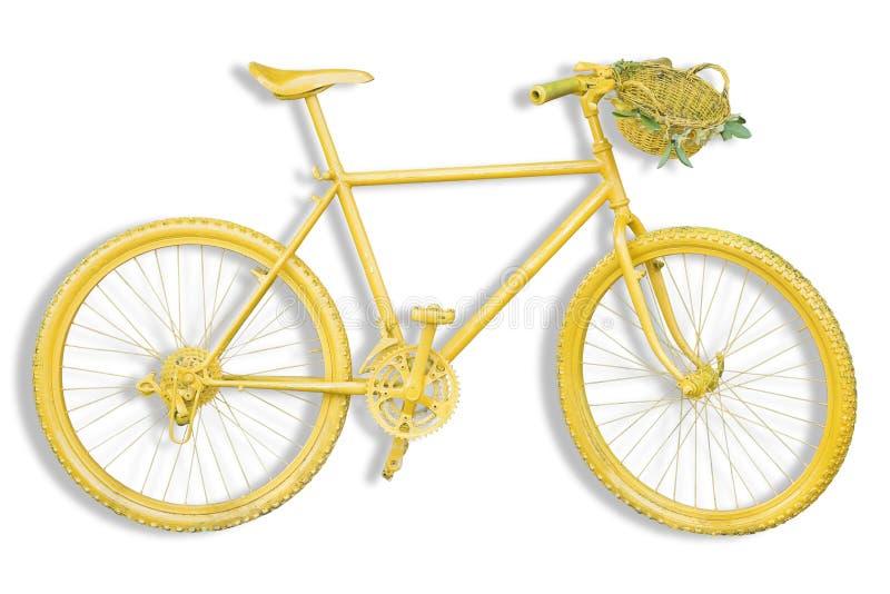 Stary barwiony żółty rower górski na białym tle dla łatwego se obraz stock