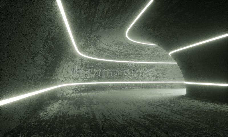 Stary Betonowy tunel Iluminujący z tubk Neonowymi światłami ilustracji