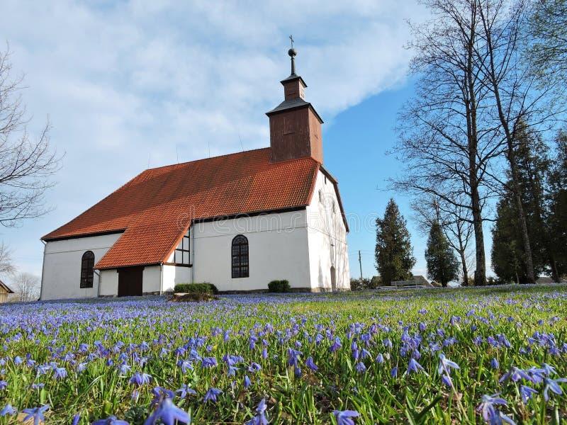 Stary biały kościół, Lithuania obraz royalty free