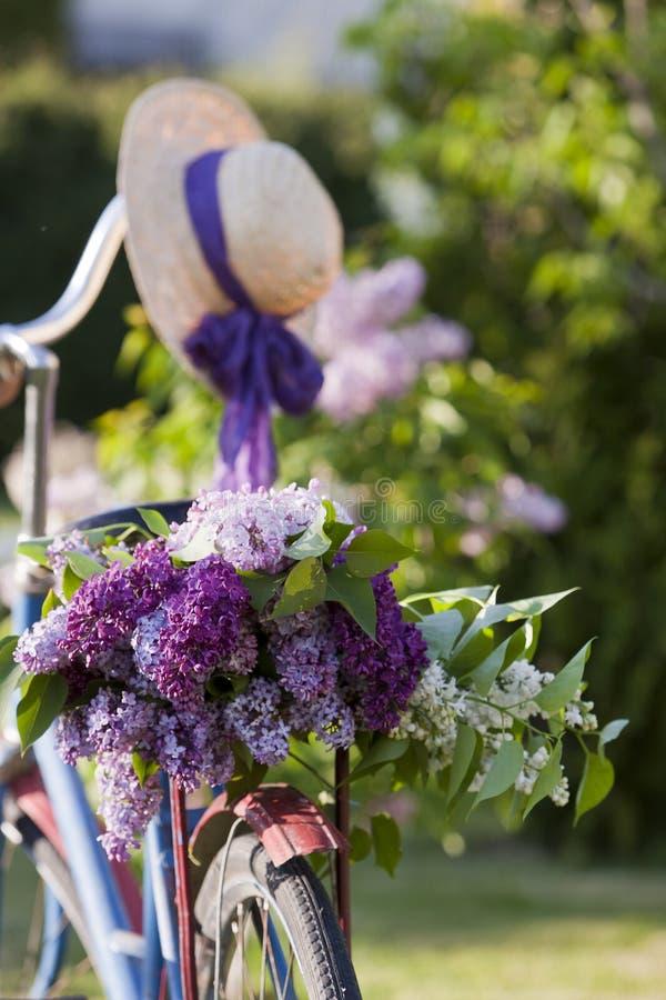 Stary bicykl z bukietem kwitnąć lilych i słomianych dam kapeluszowy plenerowego w parku naturalna tło wiosna fotografia stock