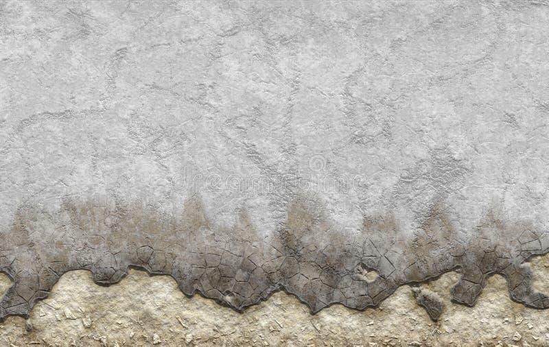 Stary biel farbujący gipsującym rozdrobni teksturę starzejąca się ściana ilustracji