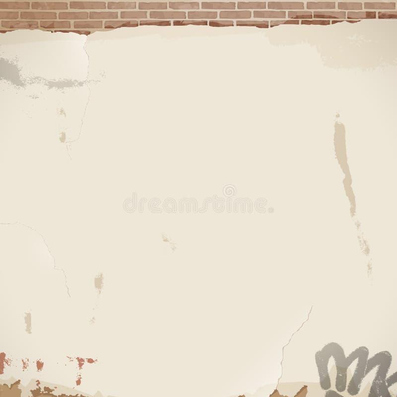 Stary biel pękająca ściana - tło royalty ilustracja