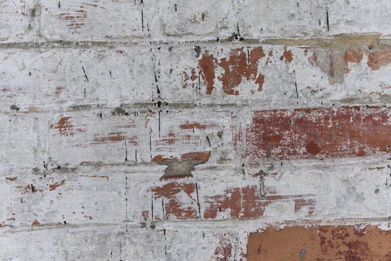 Stary biel z grubsza tworzył ściana z cegieł malującego białego tynk, zakończenie w górę, kopii przestrzeń obraz royalty free