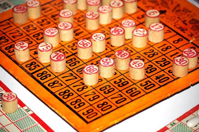 Stary bingo gry set obrazy stock