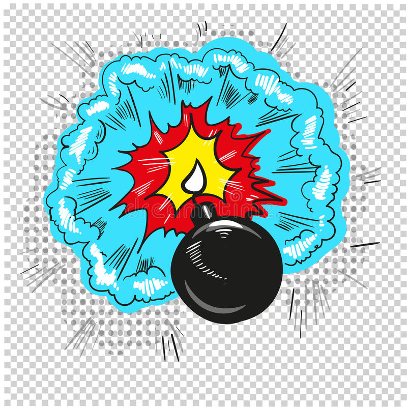 Stary bombowy zaczynać wybuchać komiksu projekt ilustracji
