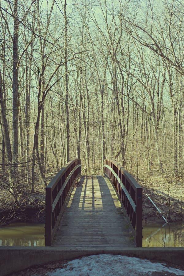 Stary bridżowy skrzyżowanie rzeki na pogodnym, wiosna dzień obrazy royalty free