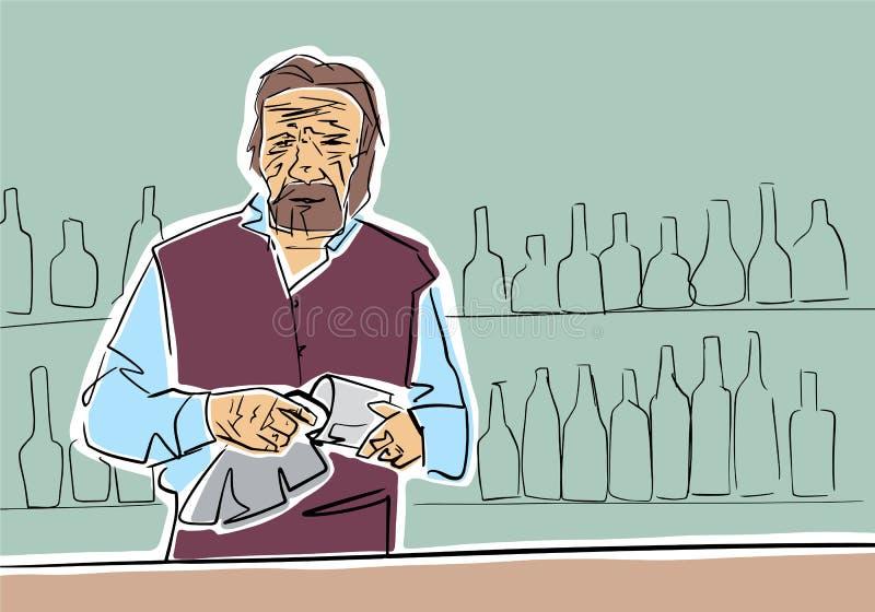 Stary brodaty barman wyciera szkło w barze royalty ilustracja