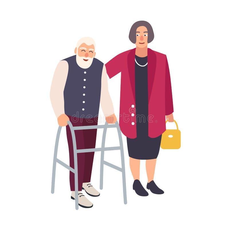 Stary brodaty mężczyzna odprowadzenie z piechurem i kobietą ubierał w eleganckim ubraniowym zachęcaniu on Starszy męski charakter ilustracji