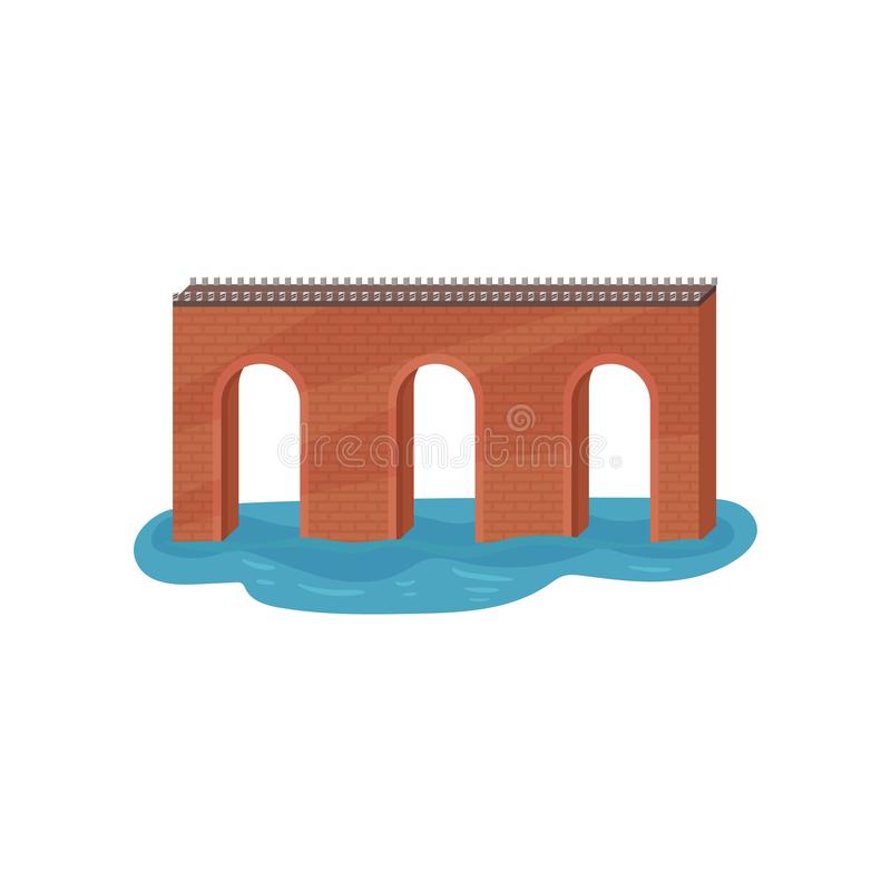 Stary cegła łuku most Budowa dla transportu Architektura temat Płaski wektorowy element dla mobilnej gry royalty ilustracja