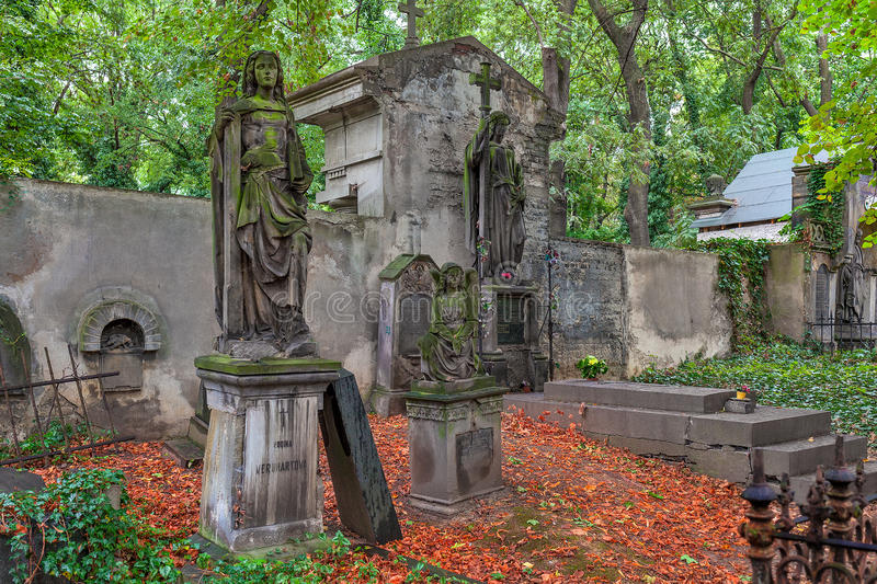 Stary cmentarz w Praga obraz stock