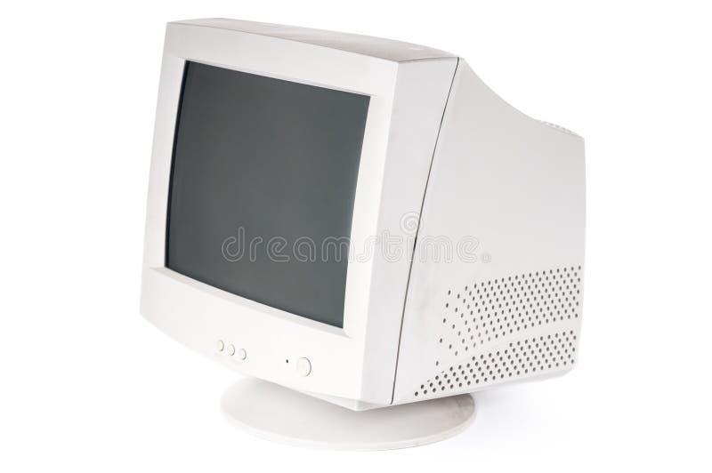 Stary CRT monitor na białym tle zdjęcie stock