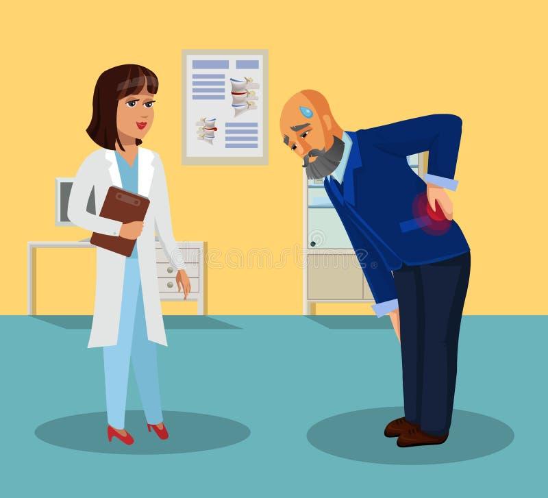 Stary Człowiek i lekarka w sali szpitalnej mieszkania rysunku ilustracja wektor