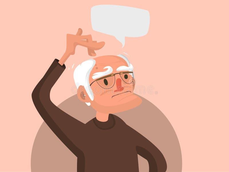 Stary człowiek drapa jego głowę ilustracji