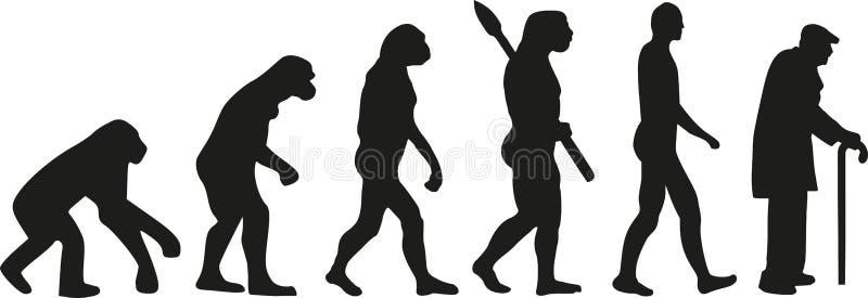Stary człowiek ewolucja royalty ilustracja