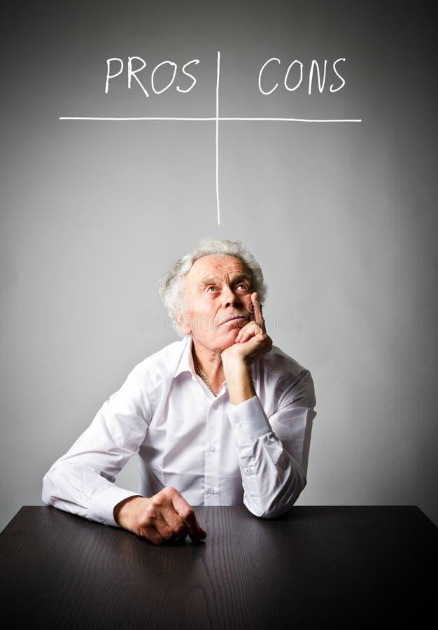 Stary człowiek foluje wątpienia i wahanie Argument za - i - kantują pojęcie zdjęcie royalty free