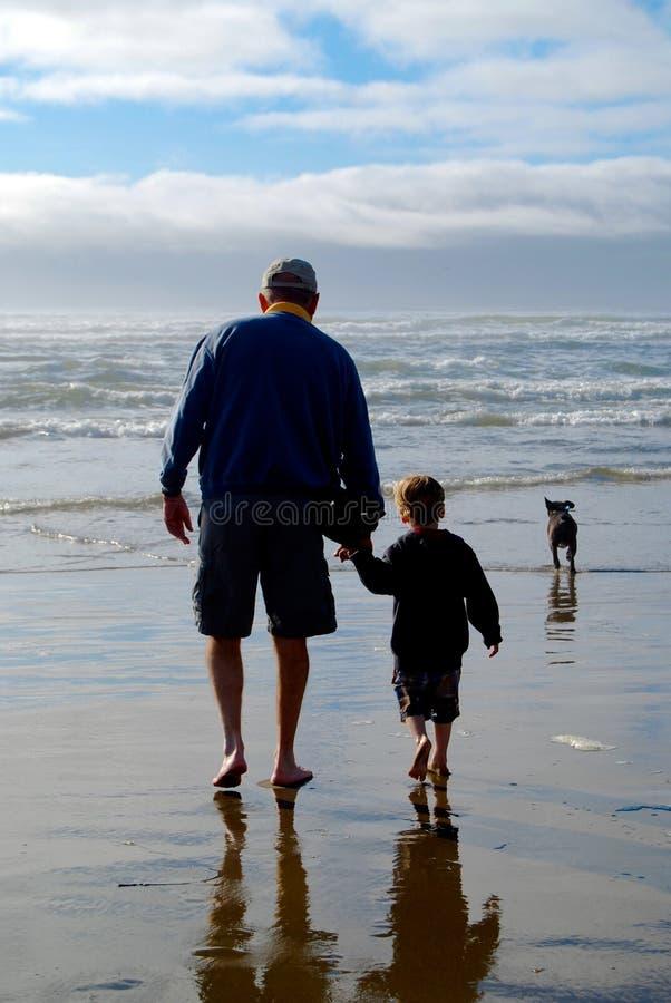 Stary Człowiek i potomstwo chłopiec badamy plażę zdjęcia stock