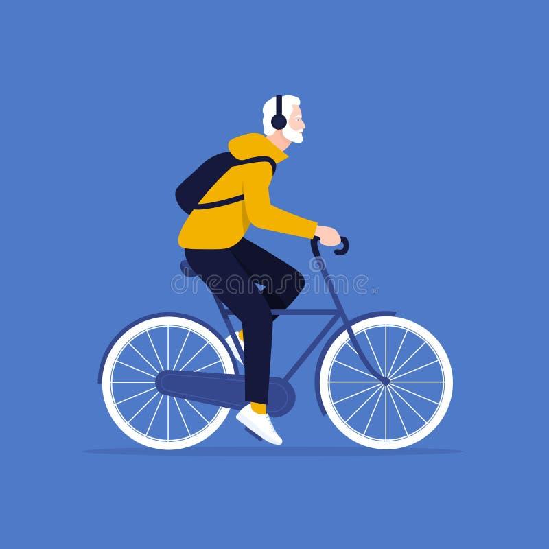 Stary człowiek jedzie bicykl Zdrowy Styl życia zdjęcie royalty free