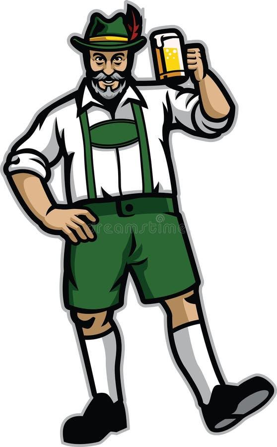 Stary człowiek jest ubranym lederhosen i szczęśliwy z jego piwem ilustracja wektor