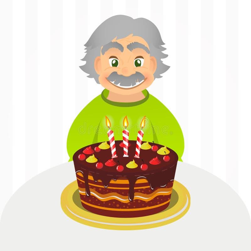 Stary człowiek odświętności urodziny Starszy mężczyzna siedzi samotnie nad bielem z czekoladowym tortem i świeczką Portret dziad  royalty ilustracja