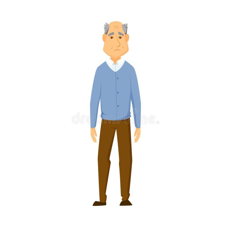 stary człowiek smutny royalty ilustracja