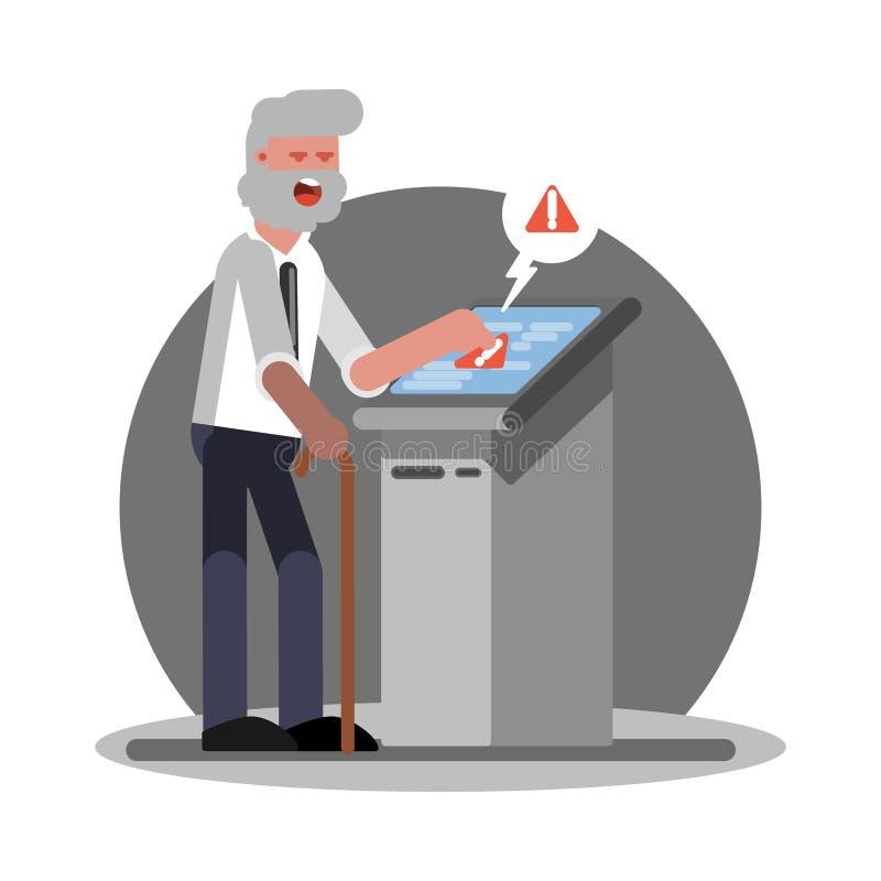 Stary człowiek troudle używać ATM royalty ilustracja