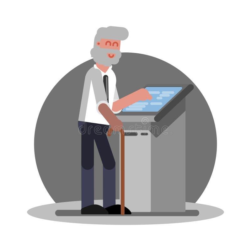 Stary człowiek używa ATM ilustracja wektor