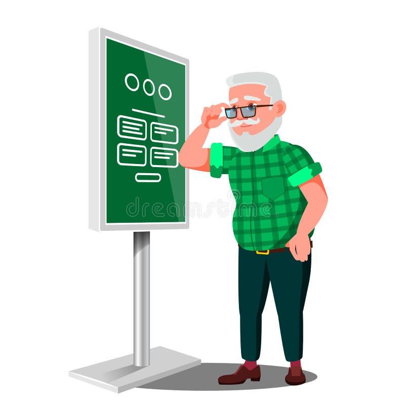 Stary Człowiek Używa ATM, Cyfrowego Śmiertelnie wektor Interaktywny Informational kiosk Elektronicznej jaźni usługa Płatniczy sys ilustracja wektor