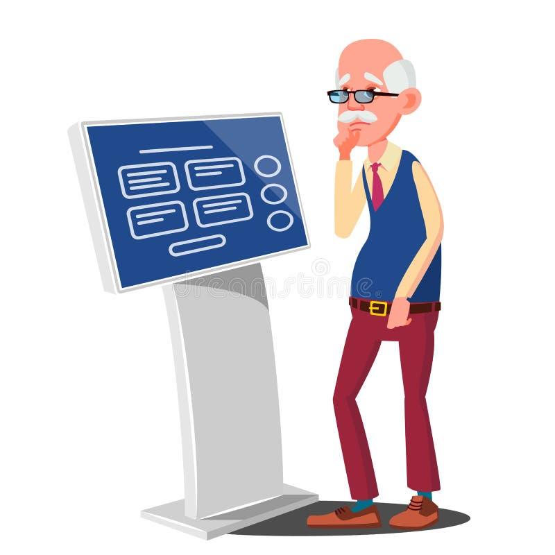 Stary Człowiek Używa ATM, Cyfrowego Śmiertelnie wektor Reklamowy dotyka ekran Podłogowa pozycja Pieniądze depozyt, wycofanie ilustracji