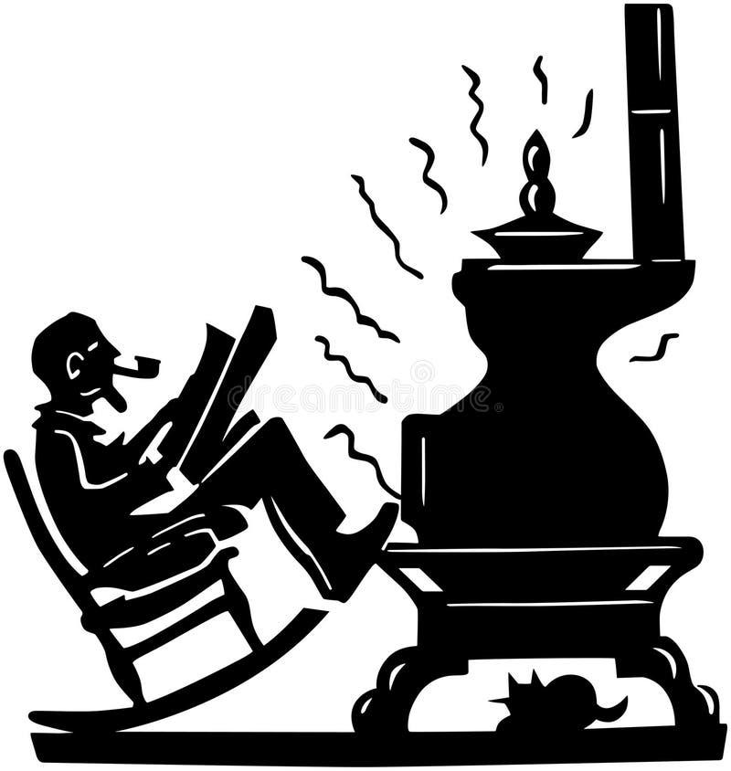Stary Człowiek Z garnek Bellied kuchenką royalty ilustracja