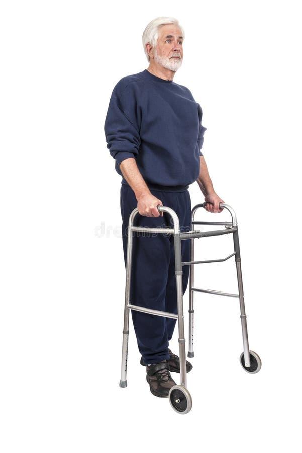 Stary Człowiek z piechur kamery Okładzinową prawicą Odizolowywającą Na bielu zdjęcie stock
