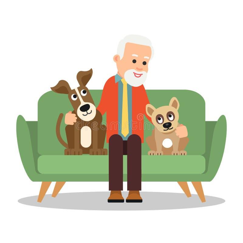Stary cz?owiek z psem Dziadunio jest siedzący na kanapie i ono uśmiecha się Obok on są dwa szczeniaka który siedzą mężczyzny i pa royalty ilustracja