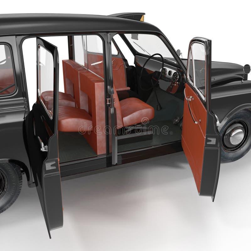 Stary Czarny taksówki wnętrze na bielu otworzyły się drzwi ilustracja 3 d ilustracja wektor