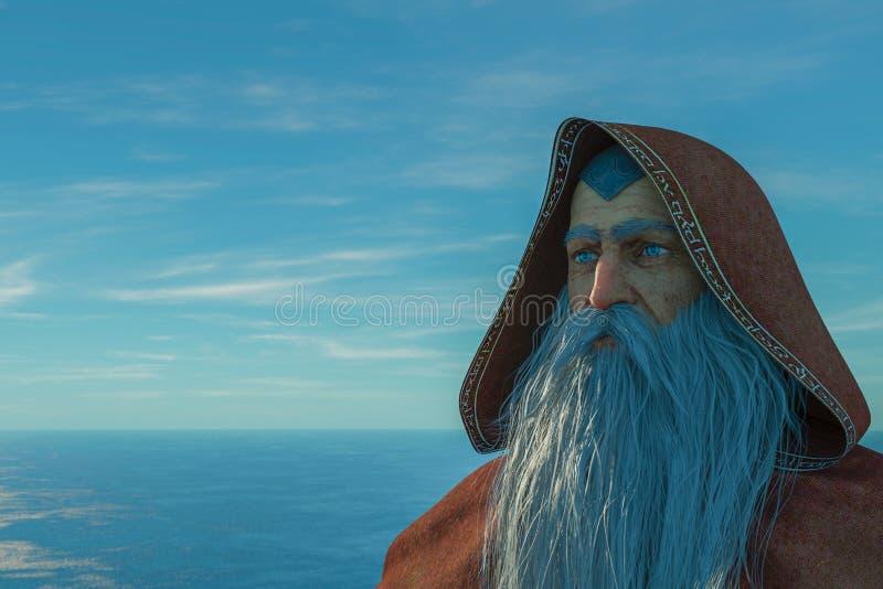Stary czarownik na oceanie ilustracji