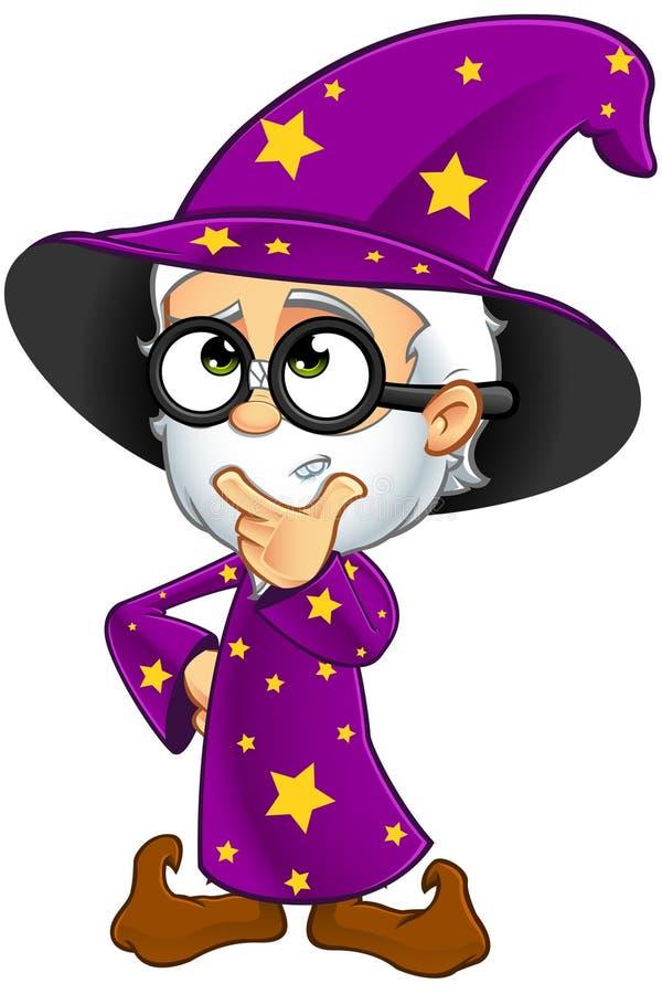 Stary czarownik W purpurach - Myśleć ilustracji