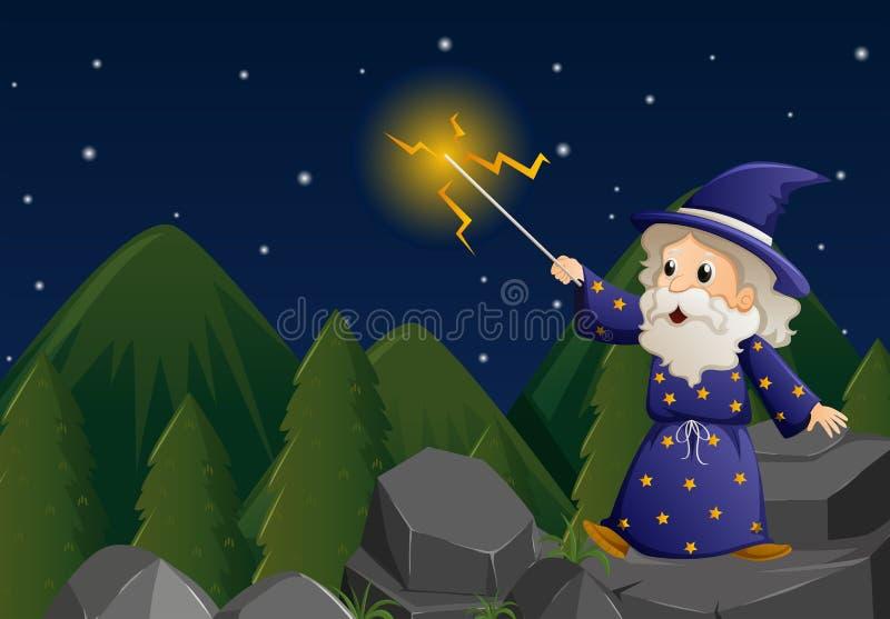 Stary czarownik z magiczną różdżką na skale ilustracja wektor