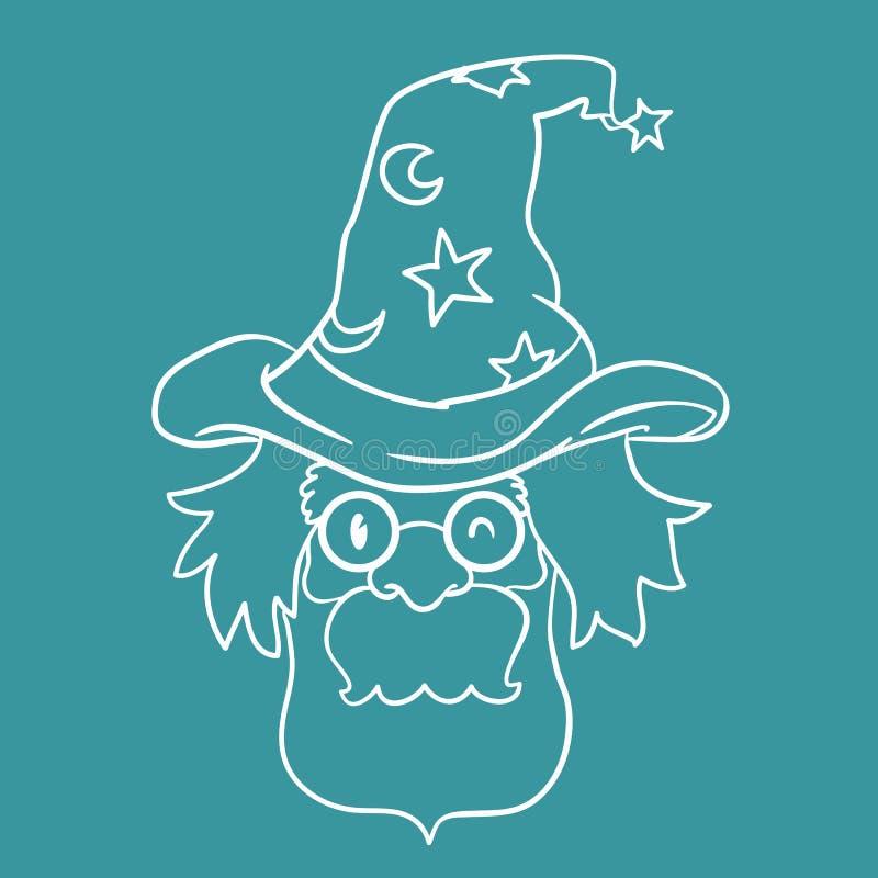 Stary czarownik z Magicznym Kapeluszowym inline stylem, Wektorowa ilustracja ilustracja wektor
