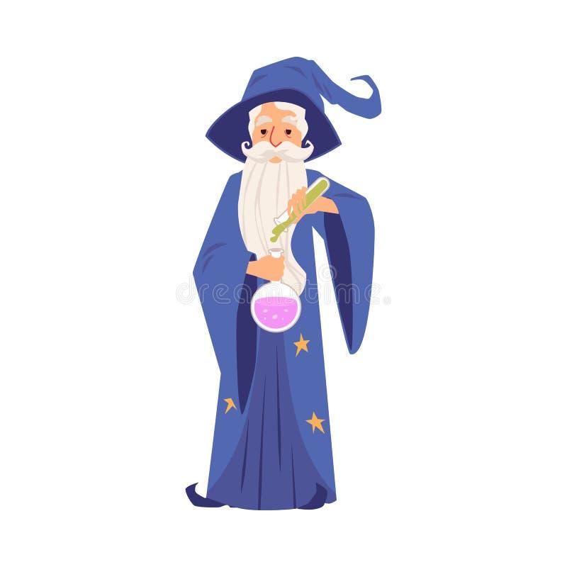 Stary czarownika mężczyzna trzyma kreskówkę w kontuszu, kapeluszu stojakach i projektuje ilustracji