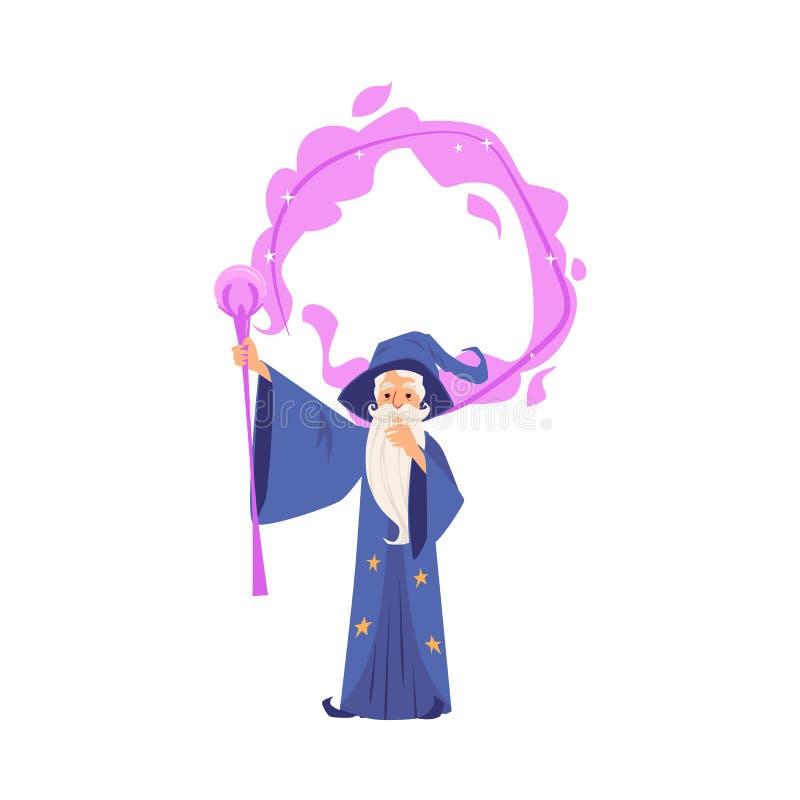 Stary czarownika mężczyzna w kontuszu i kapeluszu stoi robić magii pięcioliniowym kreskówka stylem ilustracji