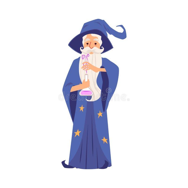 Stary czarownika mężczyzna z kapeluszem, brodą i salopą z gwiazdami, przygotowywał magicznego napój miłosnego w kolbie royalty ilustracja