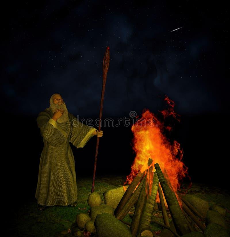 Stary czarownika ogniska nocnego nieba shooting stars ilustracja wektor