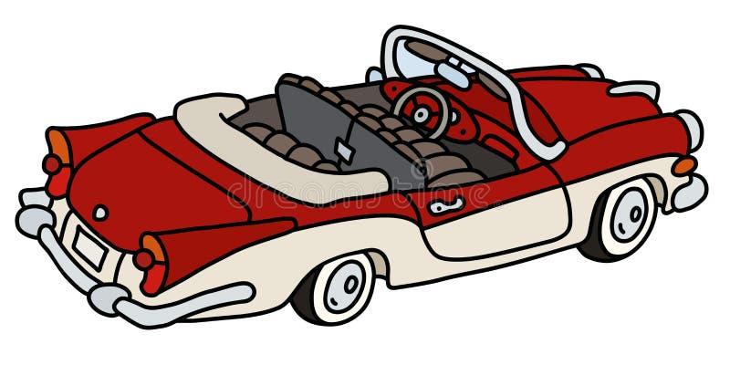 Stary czerwieni i bielu kabriolet royalty ilustracja