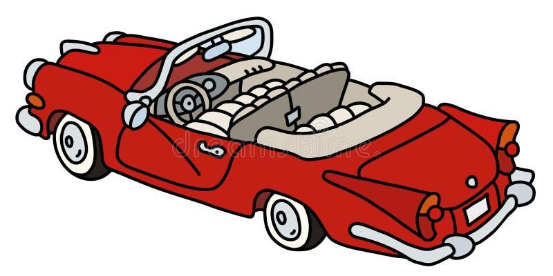 Stary czerwony amerykański kabriolet ilustracja wektor