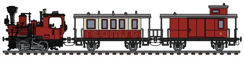 Stary czerwony mały kontrpara pociąg ilustracja wektor