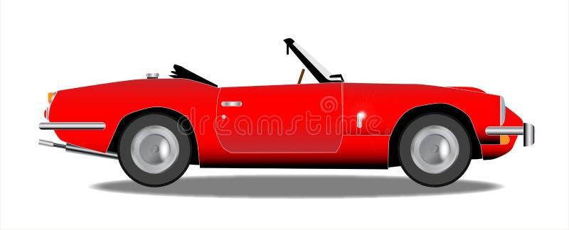 Stary Czerwony sporta samochód Na Białym tle ilustracji