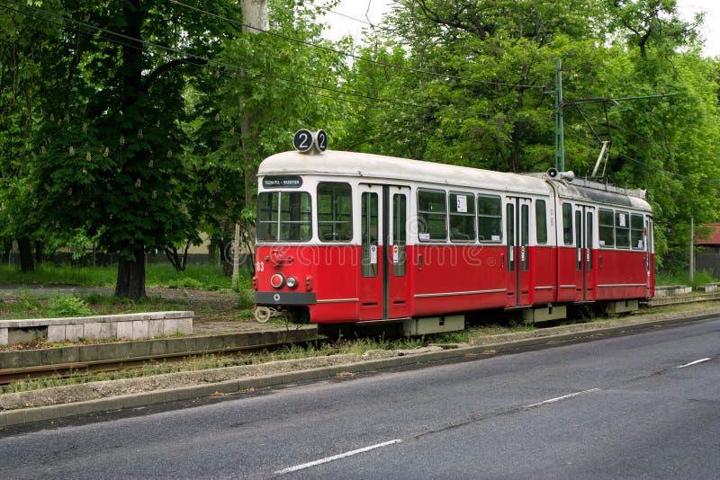 Stary czerwony tramwaj w Miskolc, Węgry fotografia royalty free