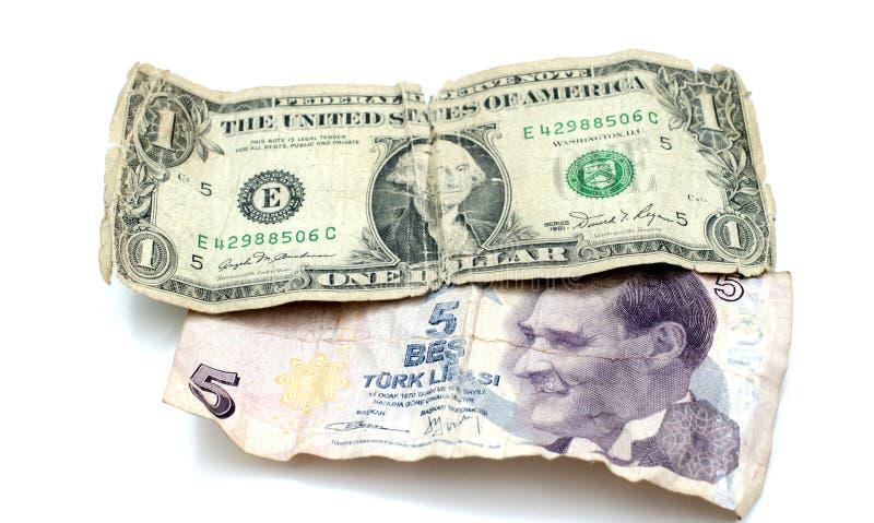 stary dolarowy rachunek i turecki lir na białym tle obraz stock