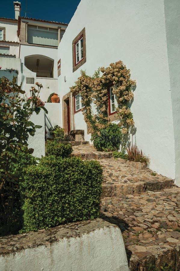 Stary dom i kwitnący okno w brukowiec alei z krokami obrazy royalty free