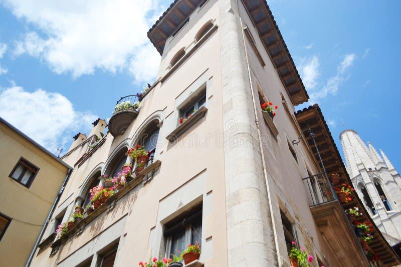 Stary dom w centrum Girona zdjęcia stock